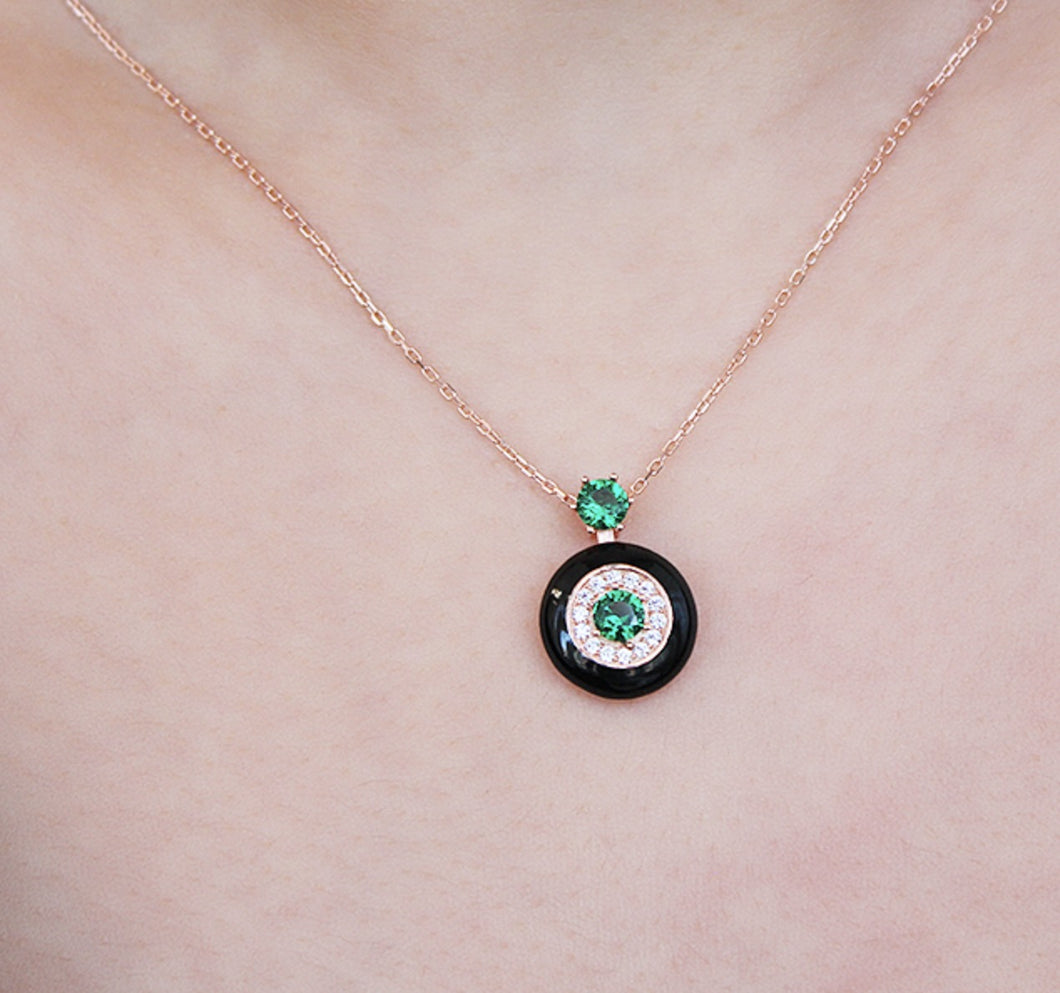 Silver Necklace with Green Zircon Stone