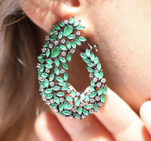 Load image into Gallery viewer, Silver Green Zircon Stones Earrings
