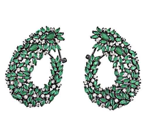 Silver Green Zircon Stones Earrings