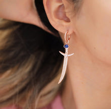 Load image into Gallery viewer, Rose Gold Plated Silver Sword Earrings with Zircon Stone