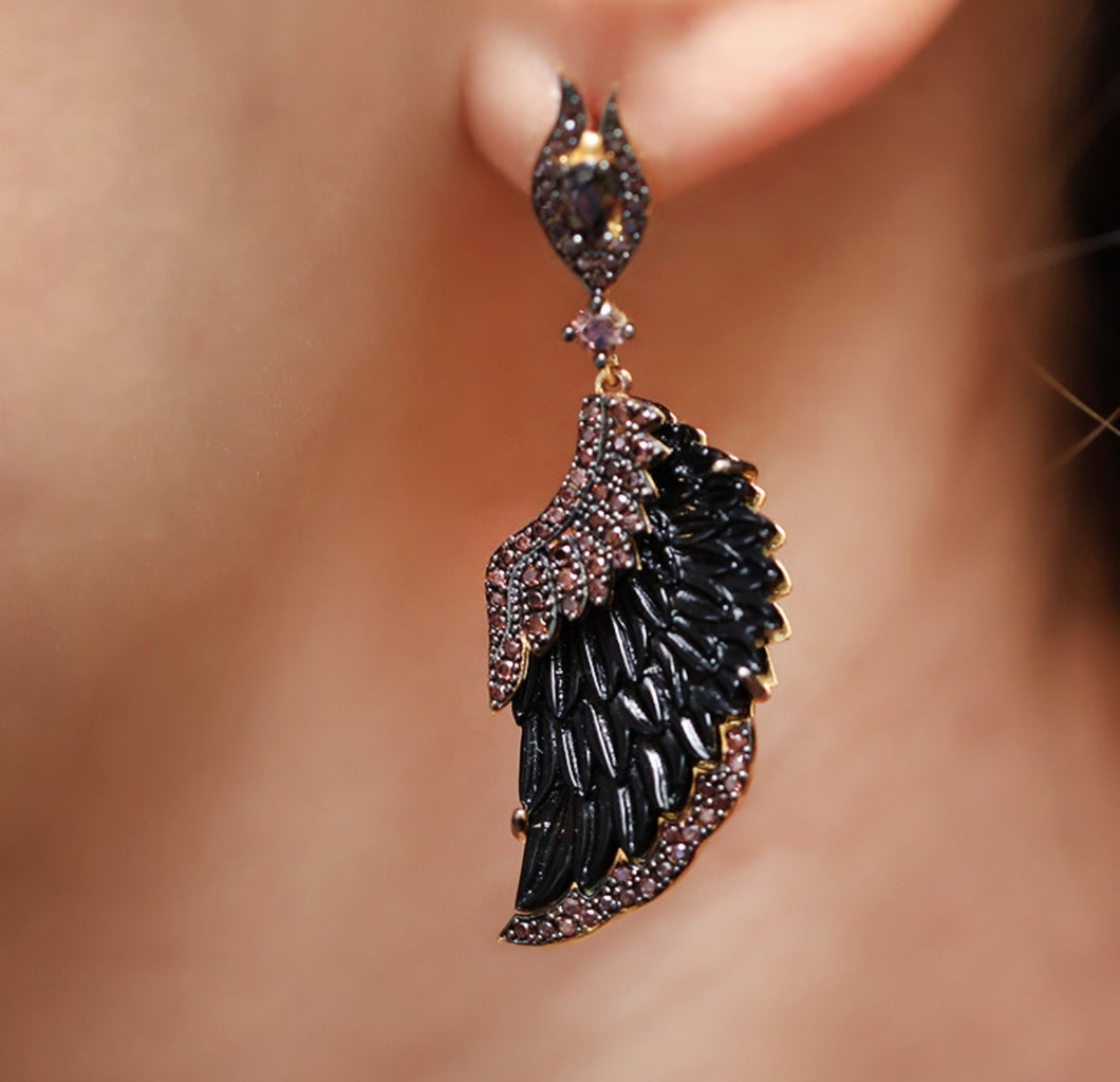 Winged Black Pearl Earrings