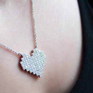 Sterling Silver Diamante Heart Necklace