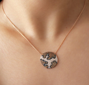 Zircon Stone Round Pendant Rose Gold Plated Necklace