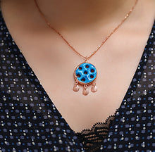 Load image into Gallery viewer, Handcrafted Blue Necklace With Suryani Protection Symbol Of Evil Eye