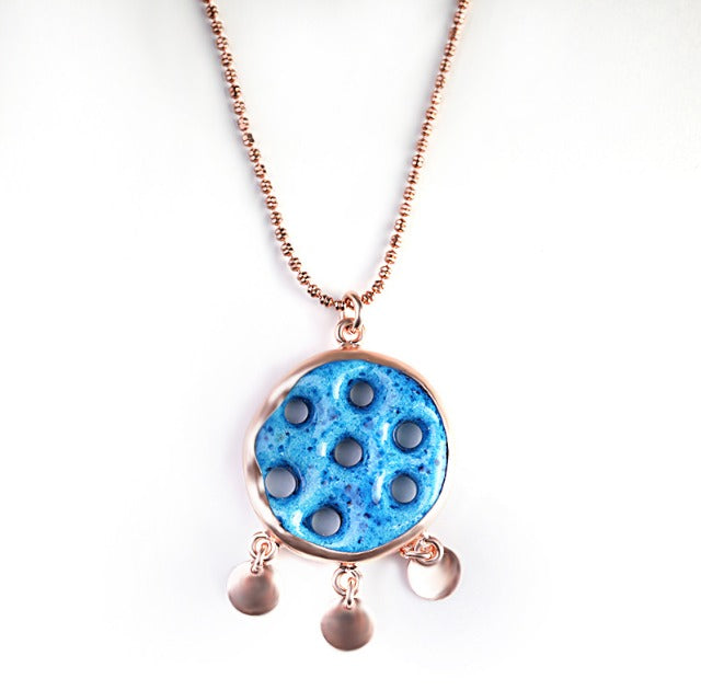 Handcrafted Blue Necklace With Suryani Protection Symbol Of Evil Eye