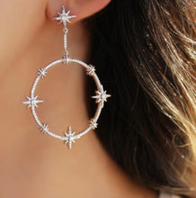 Load image into Gallery viewer, Large Star Hoops Earrings
