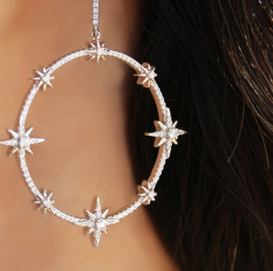 Large Star Hoops Earrings