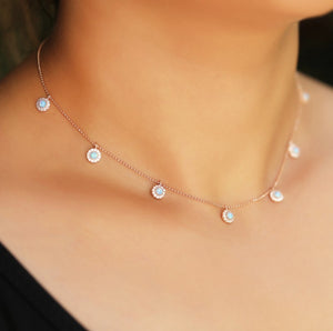 Dainty Necklace With Blue & White Zirconia