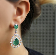 Load image into Gallery viewer, Emerald Green Crystal Rhinestone Wedding Drop Dangle Earrings