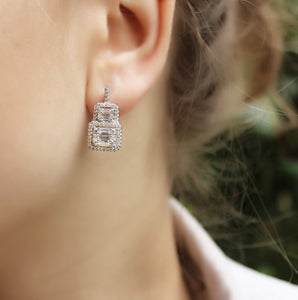 Sterling Silver Earrings With Baguette Stone