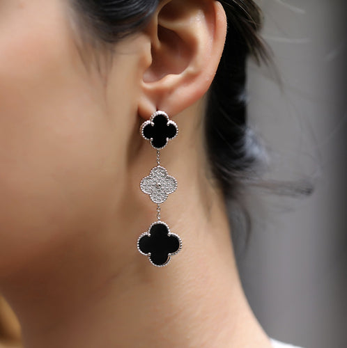 925 Sterling Silver Floral Dangle Drop Earrings