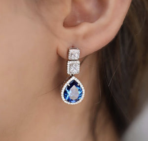 Blue Rain Drop Earrings With Zirconia