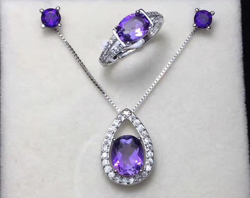 925 Sterling Silver Natural Amethyst Set