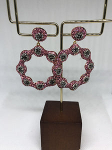 The Pink Silver Daisy Earrings