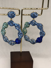 Load image into Gallery viewer, The Blue Silver Daisy Earrings