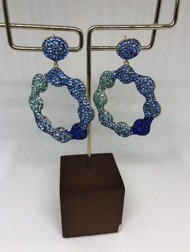 The Blue Silver Daisy Earrings