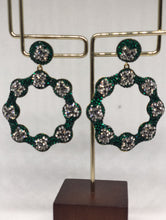 Load image into Gallery viewer, The Green Silver Daisy Earrings