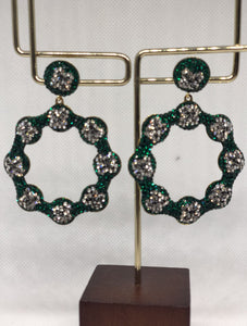 The Green Silver Daisy Earrings