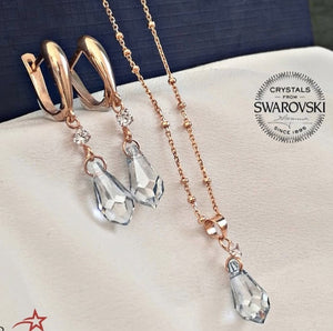 Sparkling Pear Set, Rose Gold Plated