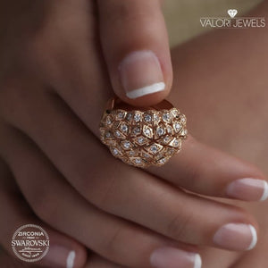 Swarovski Cocktail Ring, Rose Gold Plating