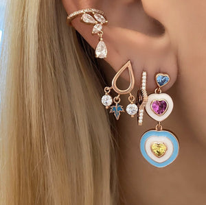 Heart Earrings With Colourful Stones