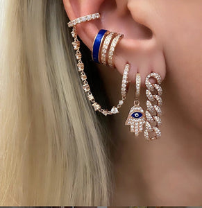 Blue Cuff Earrings With Zirconia Stones