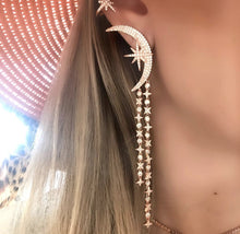 Load image into Gallery viewer, Rose Gold Moon & Star Earrings