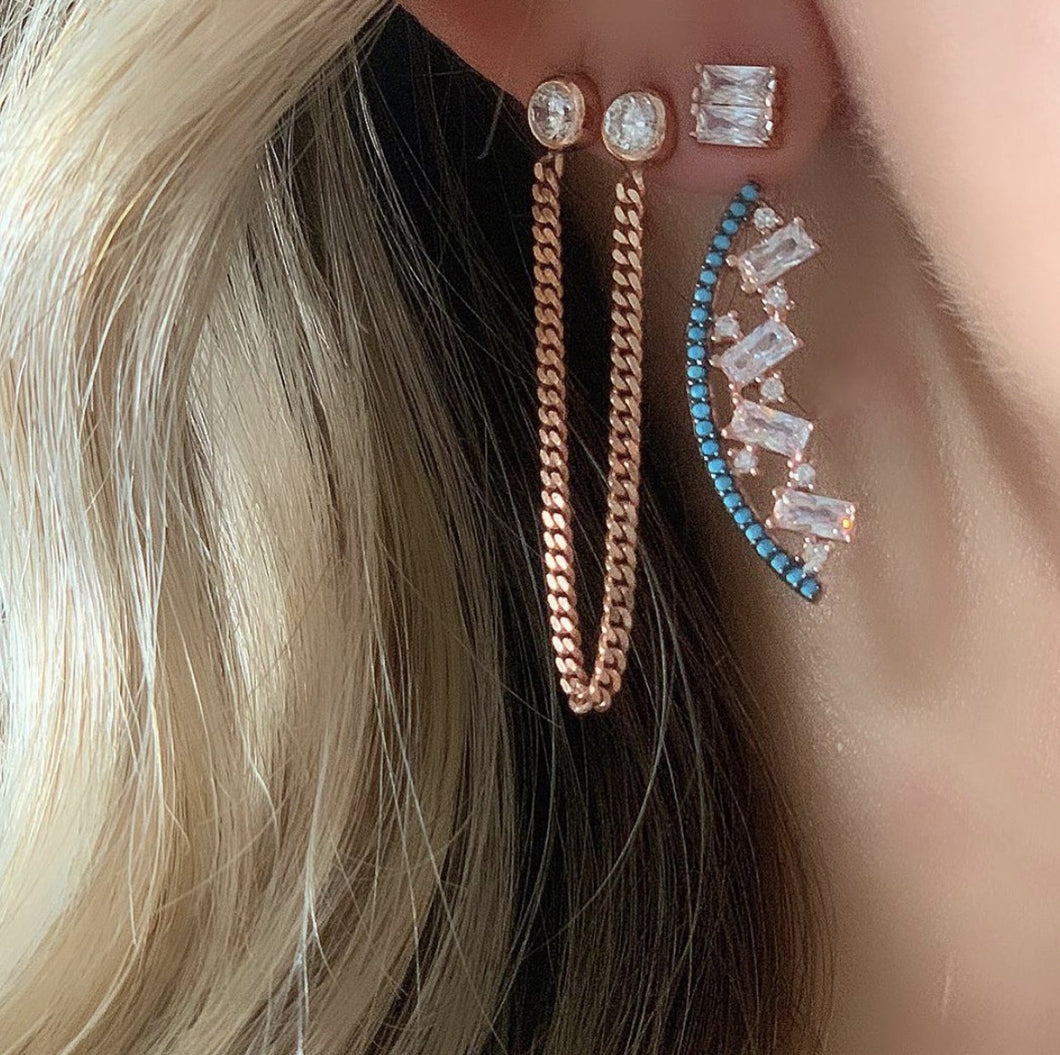Statement Earrings with Baguette & Turquoise Stones