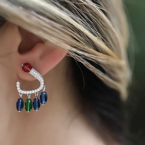 3 Color Agate Stone With Diamante Hook Earrings