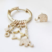 Load image into Gallery viewer, Hoop With Dangling Elephant Earrings