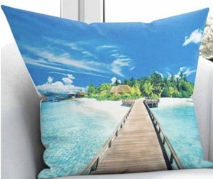 "Beach View Cushion Cover - 17"" (45cmX45cm) Pillow Cushion Cover"