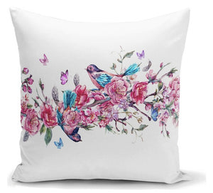 "Bird & Roses Printed Cushion  Covers - 18"" (43cm) Pillow Cushion Cover"
