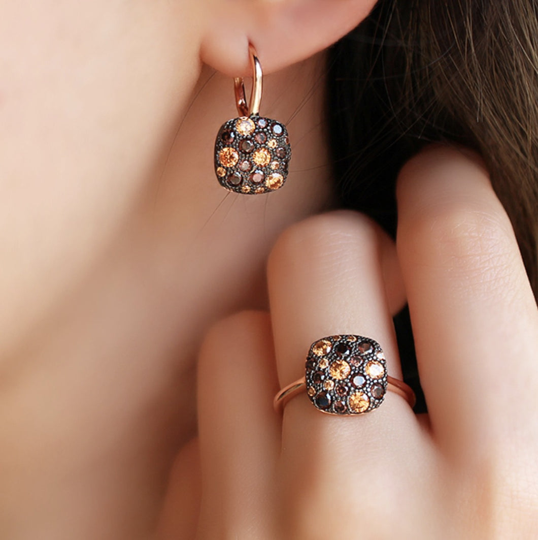 Black Zircon Stone Square Earrings