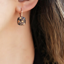 Load image into Gallery viewer, Black Zircon Stone Square Earrings