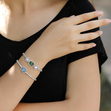 Load image into Gallery viewer, Stylish Baguette Bracelet With Blue Zirconia Stone