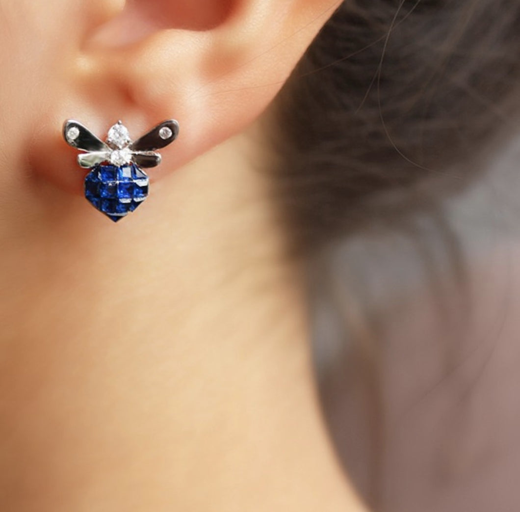 Blue Mini Bee Earrings