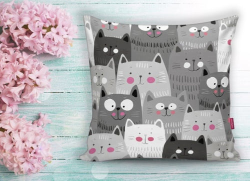 Cat Prınted Cushion Covers - 43X43cm Home Sofa Bedding Decor