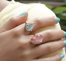 Load image into Gallery viewer, Pink Zircon & Cats Eye Stone Ring