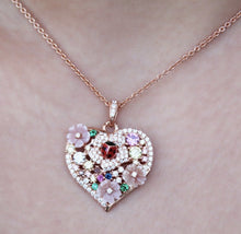 Load image into Gallery viewer, Flower Heart Pendant Silver Necklace Available in Rose Gold Plate