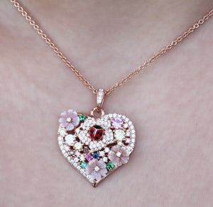 Flower Heart Pendant Silver Necklace Available in Rose Gold Plate