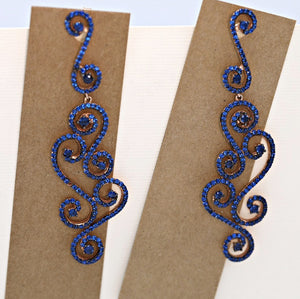 Lace Design Blue Earrings