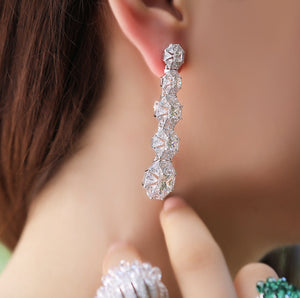 Silver Drop Earrings With Swarovski Zirconia Stones