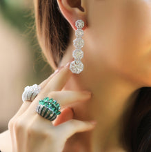 Load image into Gallery viewer, Silver Drop Earrings With Swarovski Zirconia Stones