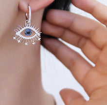Load image into Gallery viewer, Symbolic Evil Eye Hoop Pierced Earrings