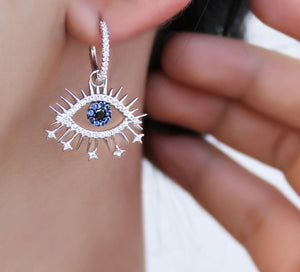 Symbolic Evil Eye Hoop Pierced Earrings