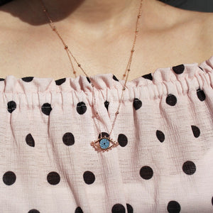 Rose Gold Plating Luckily Pendant, Evil Eye Necklace