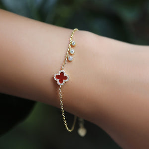 Floral Statement Bracelet With Zirconia
