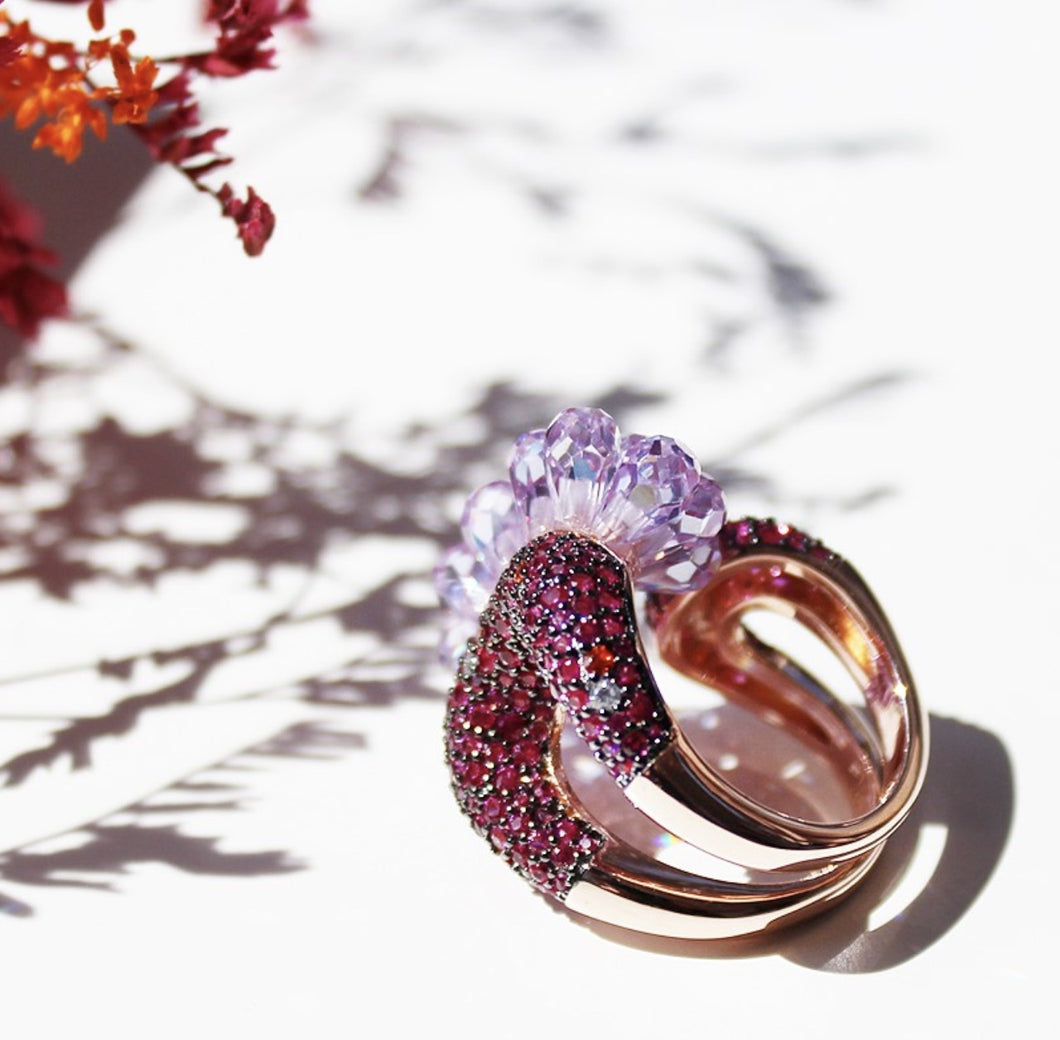 Fuchsia Crystal Ring