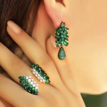Load image into Gallery viewer, Green Swarovski Zirconia Statement Earrings