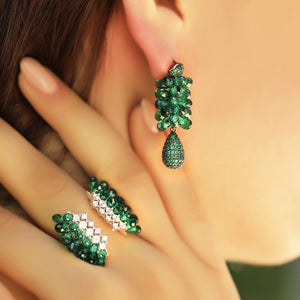 Green Swarovski Zirconia Statement Earrings